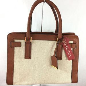Merona Canvas  Brown Crossbody Satchel Handbag